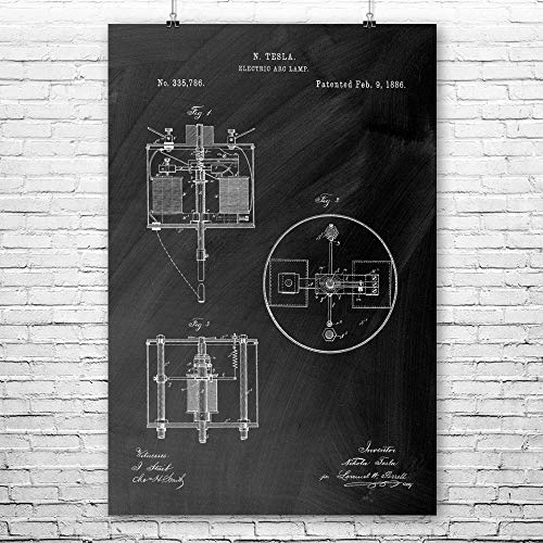 Patent Earth Nikola Tesla Arc Lamp Poster Print, Tinkerer Gift, Electrical Current, Science Class, Engineering Student, Mad Scientist Chalkboard (Black) (8