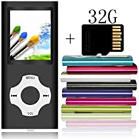 Tomameri Compact MP4/MP3 Player with a 32 GB Micro SD Card, Video Player with Rhombic Button, E-Book Reader, Mini USB Port, Photo Viewer, Voice Recorder, Including Earphones and USB Cable - 32GB,Black