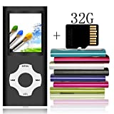 Tomameri - MP3 / MP4 Player with Rhombic Button, Including a 32 GB Micro SD Card and Maximum Support 32GB, Compact Music & Video Player, Photo Viewer, Video and Voice Recorder Supported - Black