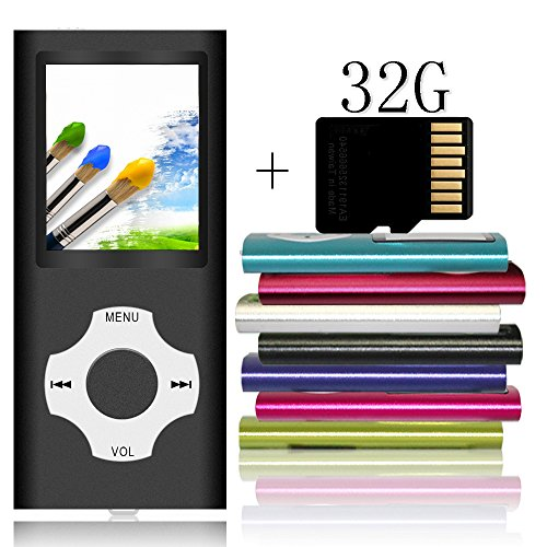 Tomameri Portable MP3 / MP4 Player with a 32 GB Micro SD Card, MP3 Player with Rhombic Button, Mini USB Port, E-Book Reader, Photo Viewer, Including Earphones and USB Cable - Black