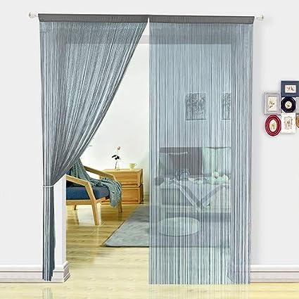 HSYLYM - Cortinas de espaghetti para Puerta de Dormitorio,mosquitera y Separador de habitación para decoración del hogar,poliéster,Gris,229x244cm