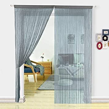 HSYLYM String Curtains for Kitchen Grey Curtains Room Divider Room Decor  for Teen Girls Tassel Strip Fly Screen for Living Room (100X200cm,Grey)