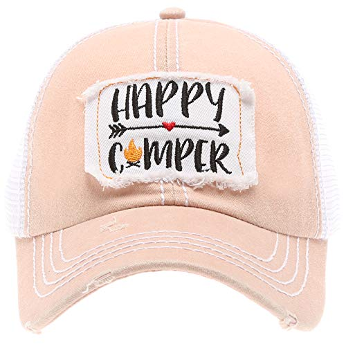 MIRMARU Women's Baseball Caps Distressed Vintage Patch Washed Cotton Low Profile Embroidered Mesh Snapback Trucker Hat (Happy Camper, Dusty Pink)