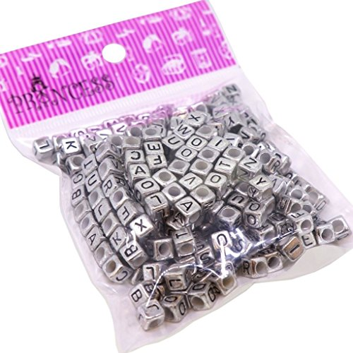 Randonly Mixed Acrylic Alphabet Beads, 6mm Cube, 3mm Hole, Silver with Black Letter, 50g apprx. 300pcs