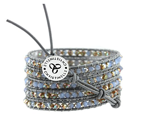 CHRISTINELLE Leather Wrap Bracelet, Beaded Bracelets for Women, Colored Crystal Beads, 36