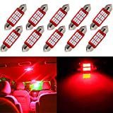 cciyu License Plate Light, 10Piece Super Bright Red 36MM Epistar Festoon LED Bulb for DE3423 DE3425 C5W 3423