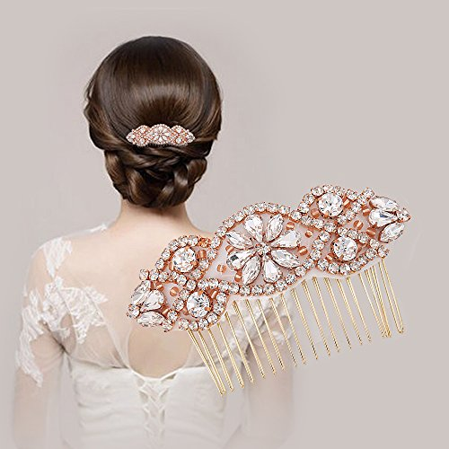Handmade Crystal Rhinestones Bridal Hair Combs for Wedding,LIANGZHILIAN Women Bridal Headpiece with Jewels Applique Hair Pins - Silver Bridesmaids Hair Accessories for Evening Prom (4-Rose gold) Vintage Gold Sparkle