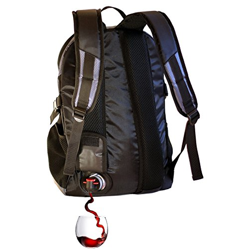 (PortoVino DayPack (Black), Backpack with 1.5 liter party pouch reservoir)