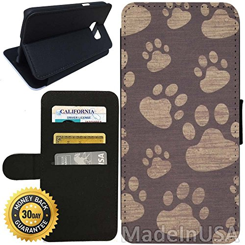 Wallet Prints Paw (Flip Wallet Case for Galaxy S7 (Paw Prints) with Adjustable Stand and 3 Card Holders   Shock Protection   Lightweight   Includes Stylus Pen by Innosub)