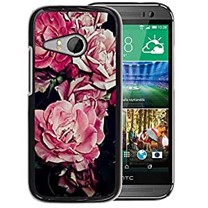 A-type Arte & diseño plástico duro Fundas Cover Cubre Hard Case Cover para HTC ONE MINI 2 / M8 MINI (Begonia Pink Flower Floral Pattern Black)