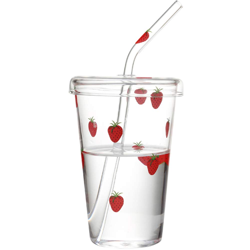 KDA Strawberry Cup Cute Larger Capacity Small Fresh with Straw Lead-Free Heat-Resistant Borosilicate Glass Simple Fashion by KDA