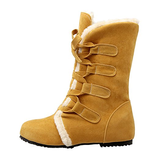 Warm Full Boots Yellow Winter Fur Lace Women's Eclimb Ankle Flat Snow Up 6WYpPIq