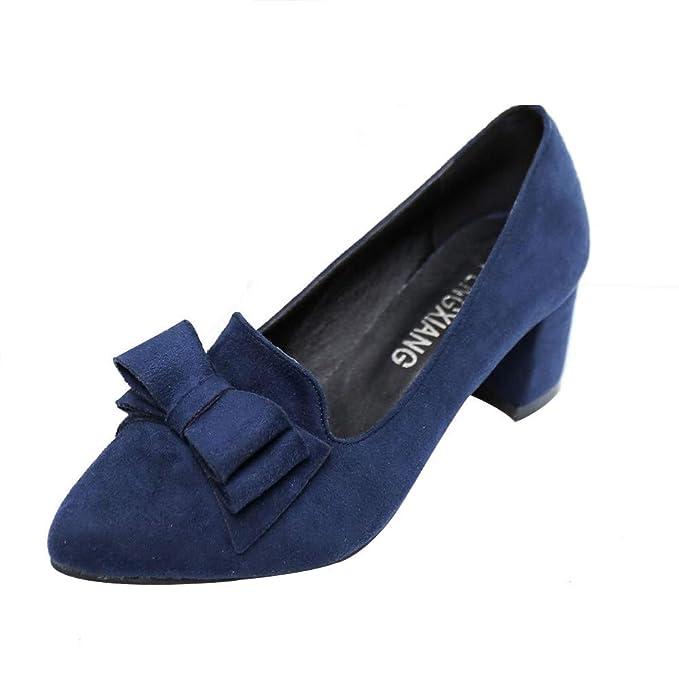YBC Sandalias Zapatillas Zapatos de tacón Zapatos Bowknot Suede Gruesos para Mujer Zapatos de Moda con Punta Ancha y Punta Estrecha: Amazon.es: Ropa y ...