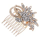 Remedios Vintage Crystal Bridal Hair Comb Wedding Hair Accessory, Rose Gold & Silver