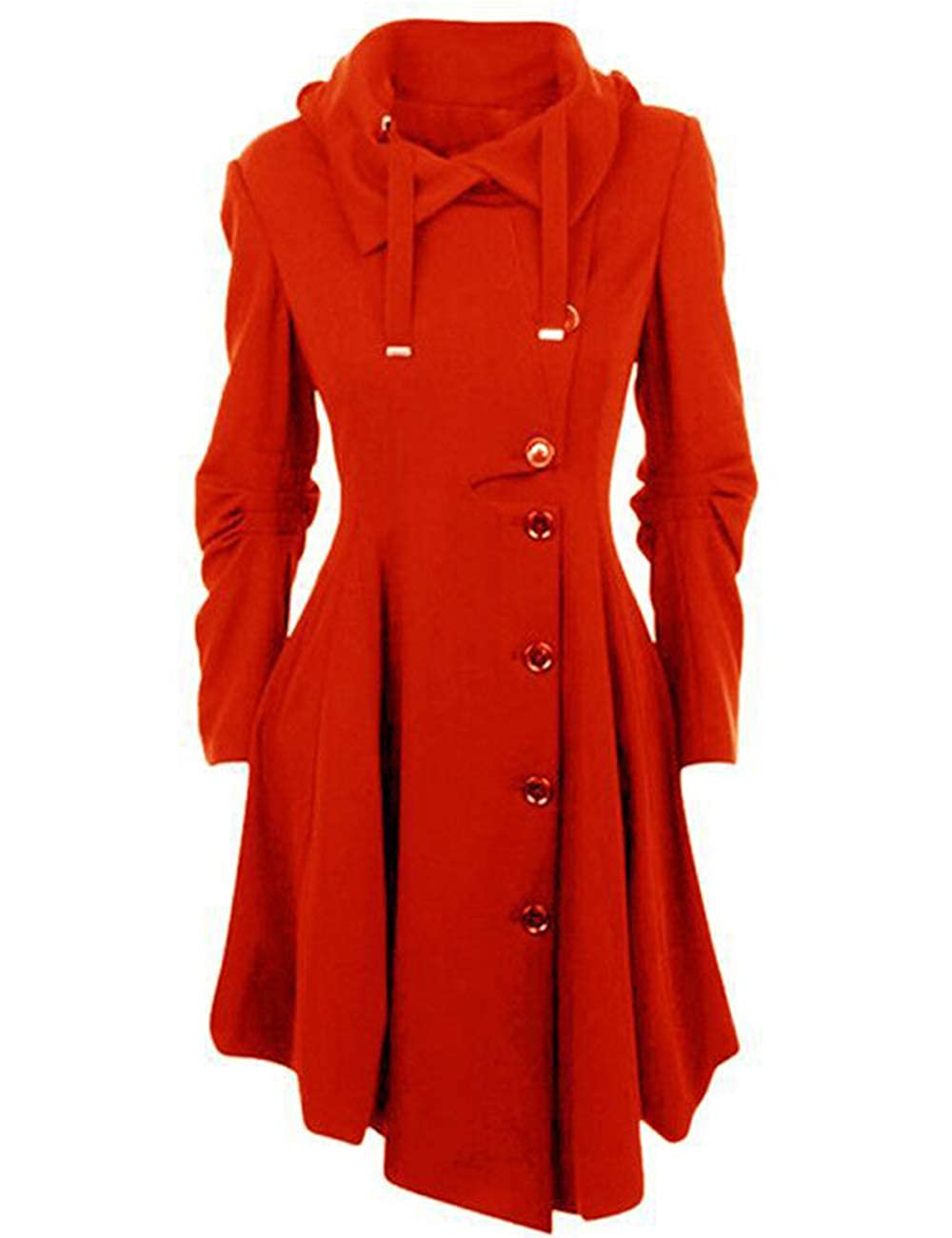SOMTHRON Women Oversize Wool Outerwear Jacket Hooded Button Closure Long Trench Coat