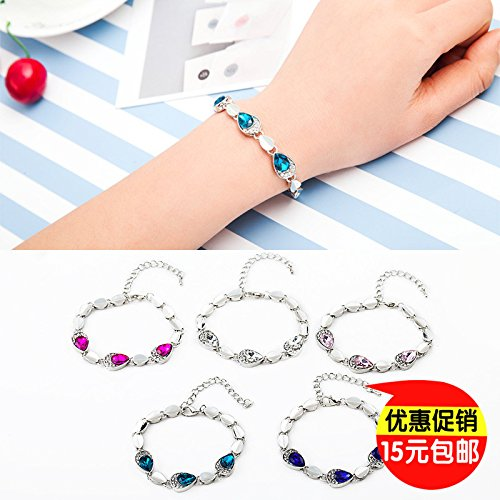 Korean version of the new fashion jewelry Heart of Ocean peach heart diamond crystal bracelet exquisite bracelet special wild accessories