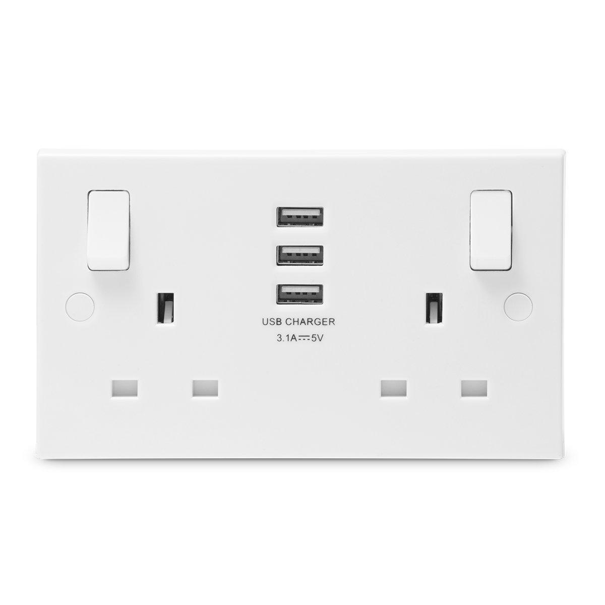 BG Electrical Nexus 922U33 Square Profile Double Switch Socket with 3 x 3.1 A USB White