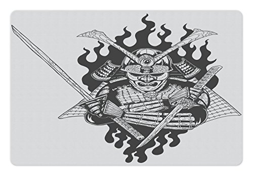 Spiritual Fighter (Japanese Pet Mats for Food and Water by Lunarable, Fearsome Ghost Ninjain FireOriental Mythology Spiritual Eastern Fighter Print, Rectangle Non-Slip Rubber Mat for Dogs and Cats, Black White)