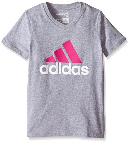 adidas Big Girls' Logo Short Sleeve Tee, Shock Pink, X-Large/16
