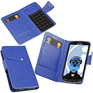 iTALKonline Samsung R940 Galaxy S LightRay 4G Blue Super Slim PU Leather Executive Multi-Function Wallet Case Cover Organiser Flip with Credit / Business Card Holder - Suction Pad Design