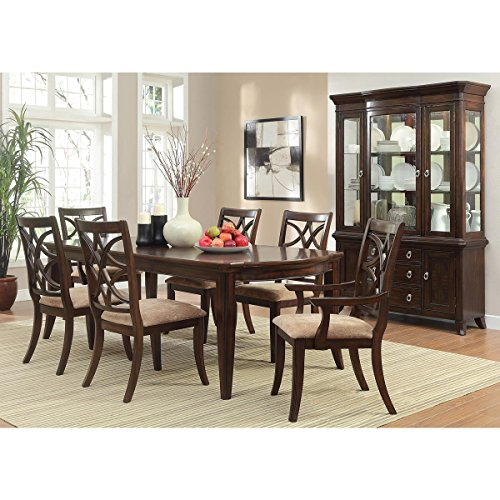 Kara 7 Piece 68-82-96 inch Dining Set in Cherry - Table, 2 Arm, 6 Chairs