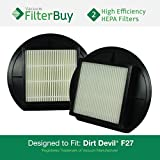 2 - Dirt Devil F-27 (F27) HEPA Replacement Filters, Part # 1LY2108000 (1-LY2108-000). Designed by FilterBuy to fit Dirt Devil Upright Vacuum Cleaners