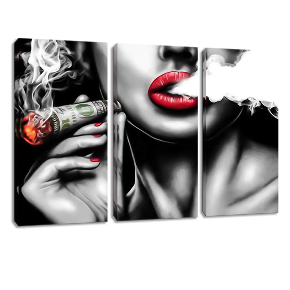 """3 Panels Black and White Girl Smokes Paintings Sexy Red Lips with Burning Money Dollars Smoking Clouds Canvas Print Canvas Wall Art for Study Room Office Framed Ready to Hang(16"""" x 32"""" x 3 Panels)"""