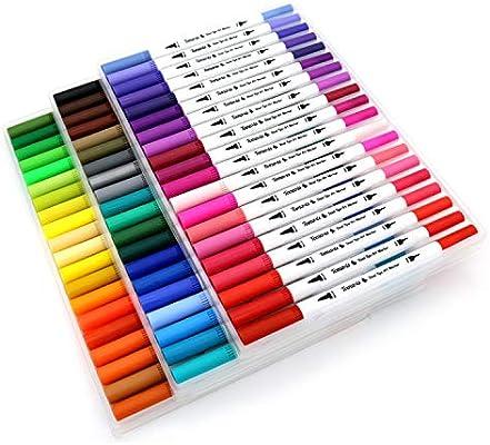 60 rotuladores para colorear con puntas dobles de fieltro de 0,4 mm y 2 mm - Rotuladores al agua ideales para arte y para Bullet Journal: Amazon.es: Oficina y papelería