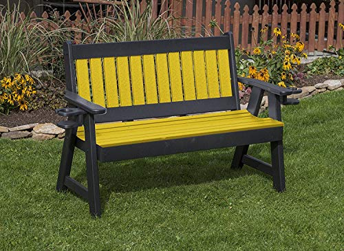 - Jur_Global All Weather Furniture Outdoor Patio Garden Lawn Exterior Yellow Finish 4Ft-Poly Lumber Mission Porch Bench with Cupholder Arms