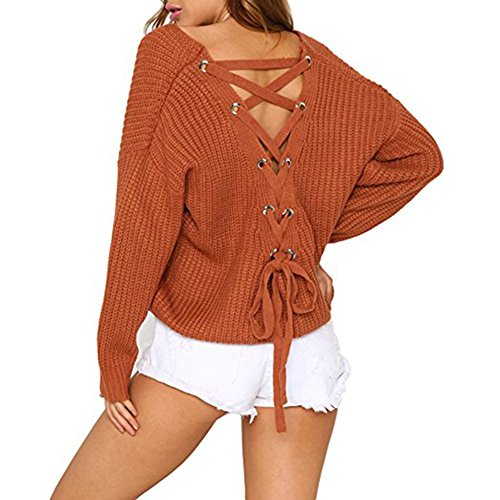 Adrinfly Women V-Neck Pullover Sweaters Back Lace Up Winter Long Sleeve Loose Knit Tops