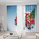 TecBillion Decor Collection,Christmas,for Bedroom Living Dining Room Kids Youth Room,Red Classical Pickup Truck with Tree Gifts and Ornaments Snowy Winter Day Image Decorative,70Wx98L Inches