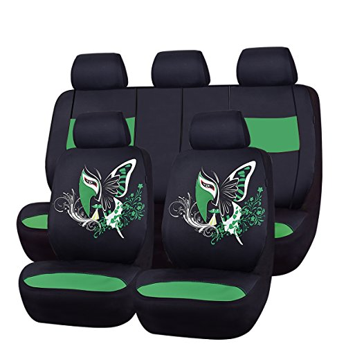 NEW ARRIVAL- CAR PASS 11PCS Insparation Universal Seat Covers Set Package-Universal fit for Vehicles,Cars With Opening Holes for headrest and selt belts ,Airbag Compatiable (Black With Green) (Honda Green Car)