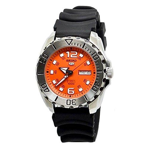 (Seiko Men's Seiko 5 44mm Black Silicone Band Steel Case Automatic Orange Dial Analog Watch)