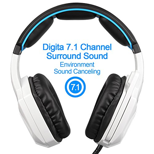51Z B6Mn3pL - New Updated SADES Spirit Wolf 7.1 Surround Stereo Sound USB Computer Gaming Headset with Microphone,Over-the-Ear Noise Isolating,Breathing LED Light For PC Gamers  (Black & White)