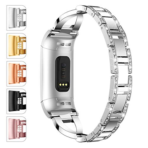 JOMOQ Compatible Fitbit Charge 3/3 SE Bands, Classic Stainless Steel Bands Premium Metal Wristbands Adjustable Butterfly Clasp Repacement Band Wrist Accessories Straps Women Men