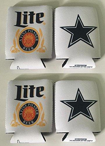 - Miller Lite Texas Cowboys 12oz Beer Can Cooler Holder Kaddy Coolie Huggie Set of 4