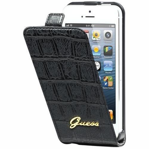 Guess Ledertasche Flipstyle Croco Schwarz für Apple iPhone 5/5S