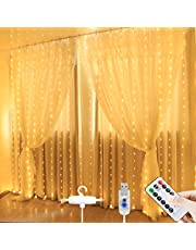 Curtain Lights - Window Curtain String Lights 3x2.8m 280led USB Plug in Fairy Lights with Hook Remote Control USB Powered Waterproof Decor Lights for Christmas Party Bedroom Wedding Home Wall