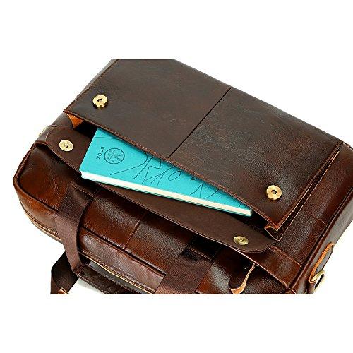 RENHONG Herren Retro Braun Mode Leder Aktentasche Schultertasche Messenger Bag Business Casual Büro College Laptop Notebook Tasche Brown2