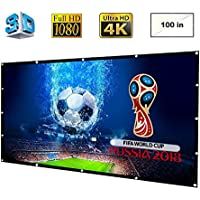 DOACE Portable 100 inch HD Video Projector Screen 16:9 Indoor Outdoor, Foldable Anti-Crease Movie Screen Made of High Contrast Collapsible PVC for Home Cinema Theater Support Double Sided Projector
