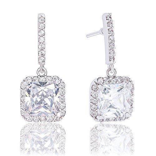 18k Gold Plated Asscher Cut Halo Cubic Zirconia Drop Earrings (2.60 carats)