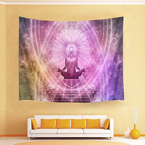 (HVEST Zen Meditation Tapestry Yoga in Fantasy World Wall Hanging Blanket Psychedelic Tapestries for Bedroom Living Room Dorm Decor,80Wx60H inches)