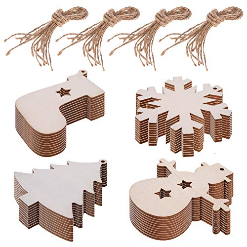 (Feeko Christmas Decorations, 40pcs Unfinished Wooden Christmas Tree Craft Making Hanging Ornaments DIY Christmas Tree Listing Sign Snowman Snowflake Socks Gift Tag Wood Piece with Hole with Rope)