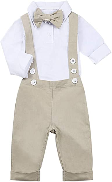 Newborn Baby Suit Boy Bow Tie Shirts Overalls Trousers Kid Outfit School Costume