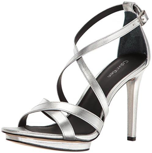 Calvin Klein Women's Vonnie Dress Sandal, Silver, 7.5 M US by Calvin Klein