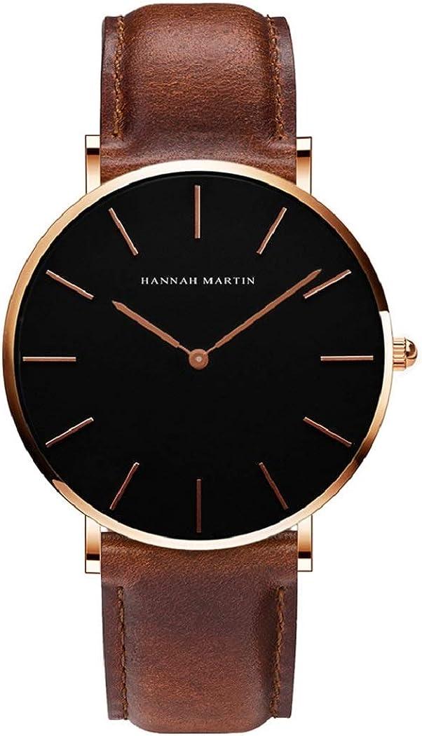 Hombre Relojes, L'ananas 2020 Hombres Estilo Minimalista Anolog Negocio Cuarzo Cuero de PU Amable Relojes de Pulsera Wrist Watches con Caja de Regalo