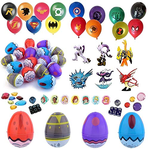 Totem World Party Favor Supplies - 24 Pokemon Theme 2.25 Print Plastic Easter Egg with Assorted Figurine, Super Hero Balloons, Dice, Gem Accessories and More - Ready To Fill Plastic Eggs
