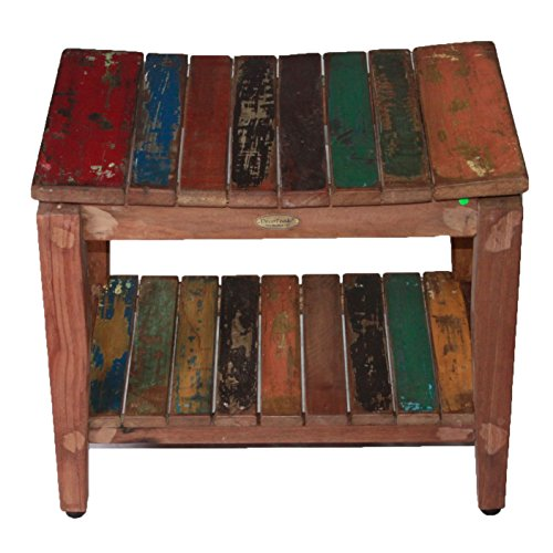 Recycled Salvaged Reclaimed Boat Wood Indoor Outdoor Bench  Sojourn Style  Stool