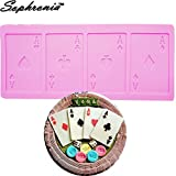 Star-Trade-Inc - 10PCS/SET A Poker Cookie Chocolate Silicone Mold Playing Cards Cake Fondant Mold Kitchen Baking Tool,22.8x10x0.4cm