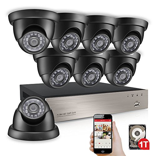 Anlapus 8-Channel 720P Home Security Camera System DVR with 1TB Hard Drive and 8 x 1280TVL Indoor Outdoor Weatherproof CCTV Dome Cameras with Night Vision and Remote Viewing by Anlapus